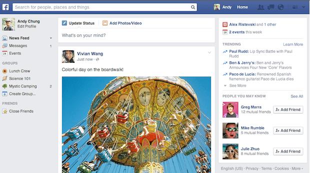 Cambiamenti Facebook 2014 - nuova interfaccia grafica Facebook