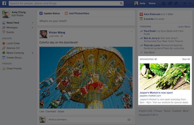 Cambiamenti Facebook 2014 - nuove inserzioni lato destro