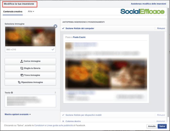 Cambiamenti Facebook 2014 - modificare inserzioni