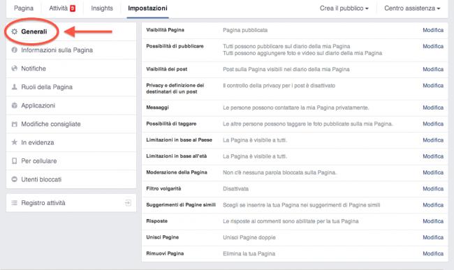 4 regole pagina Facebook - impostazioni generali