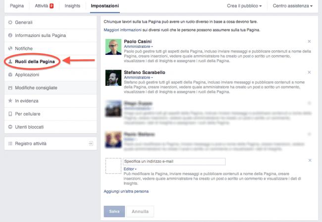 4 regole pagina Facebook - impostazione ruoli