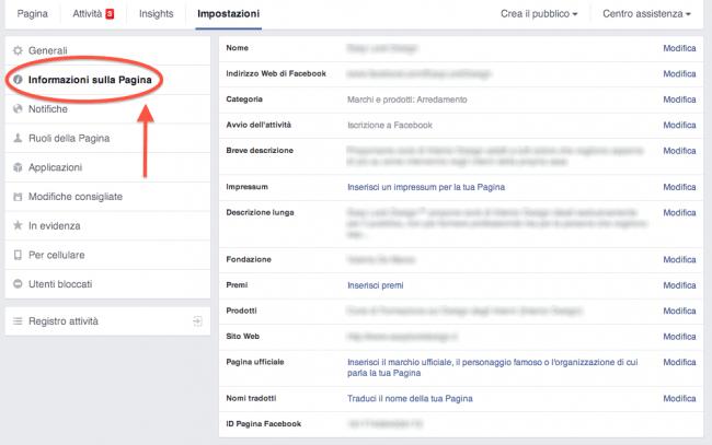 4 regole pagina Facebook - impostazioni pagina